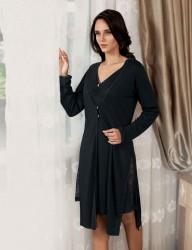 Sahinler Oleander Morgenmantel und Nachthemd im Set schwarz MBP22407-1 - Thumbnail