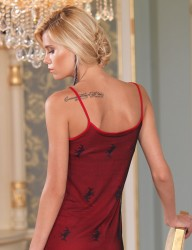 Sahinler Oleander Nachthemd mit Spitze und Spagetti-Trägern rot MB1011 - Thumbnail