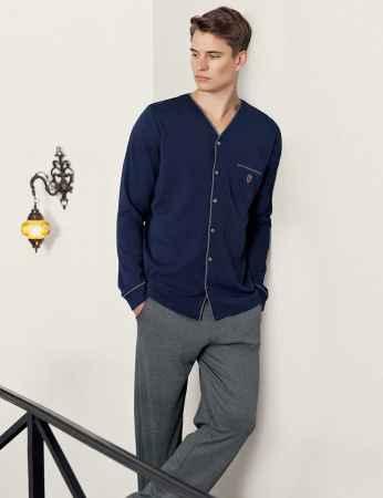 Şahinler Önden Düğmeli Cepli Erkek Pijama Takımı Lacivert MEP24517-1 - Thumbnail