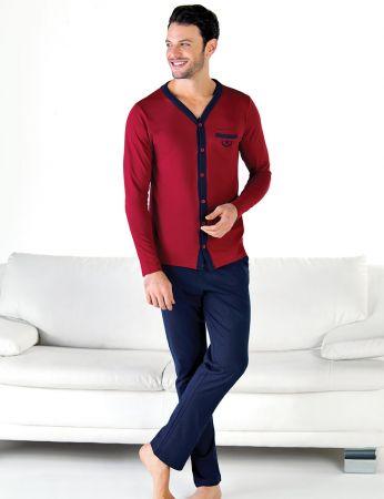 Şahinler - Şahinler Önden Düğmeli Erkek Pijama Takımı MEP24714-1