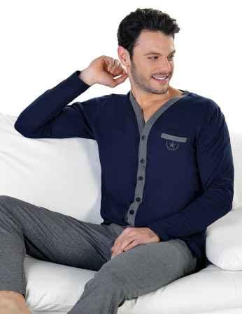 Şahinler Önden Düğmeli Erkek Pijama Takımı MEP24714-2 - Thumbnail