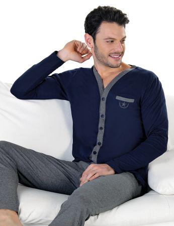 Şahinler - Şahinler Önden Düğmeli Erkek Pijama Takımı MEP24714-2