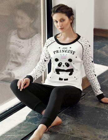 Şahinler - Şahinler Panda Baskılı Bayan Pijama Takımı Beyaz MBP24309-1