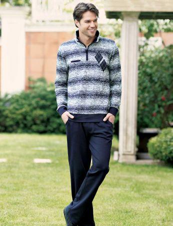 Şahinler - Sahinler Pattern Men Pajama Set Dark Blue MEP23205-1