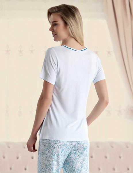 Şahinler Pattern Women Pajama Set Blue MBP23423-2