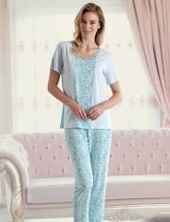 Şahinler Pattern Women Pajama Set Blue MBP23423-2 - Thumbnail
