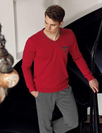 Şahinler - Şahinler Pijama Takımı Koyu Kırmızı MEP23807-2