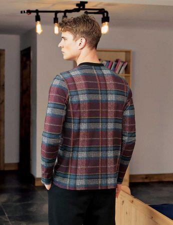 Şahinler - Şahinler Plain Men Pajama Set Bordeaux MEP23809-2 (1)