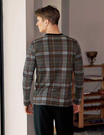 Şahinler - Şahinler Plain Men Pajama Set Brown MEP23809-1 (1)