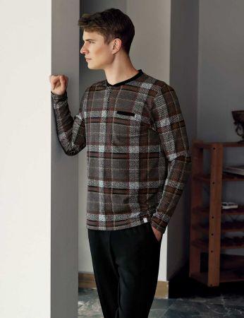 Şahinler - Şahinler Plain Men Pajama Set Brown MEP23809-1