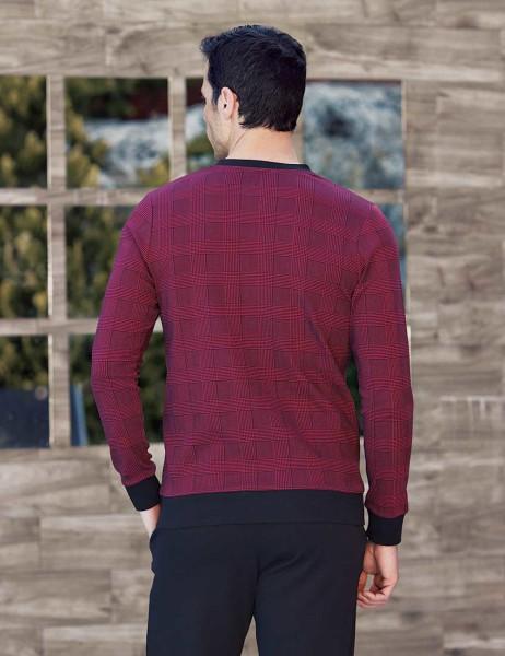 Şahinler - Şahinler Plain Printed Men Pajama Set Bordeaux MEP23820-2 (1)