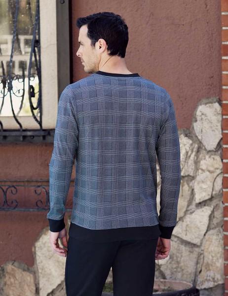 Şahinler - Şahinler Plain Printed Men Pajama Set Grey MEP23820-1 (1)