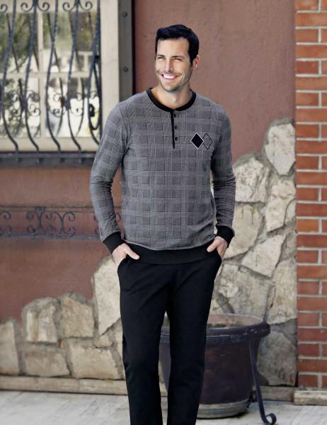 Şahinler - Şahinler Plain Printed Men Pajama Set Grey MEP23820-1