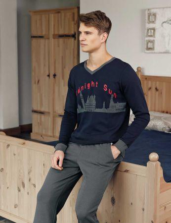 Şahinler - Şahinler Print Men Pajama Set Navy Blue MEP23210-1