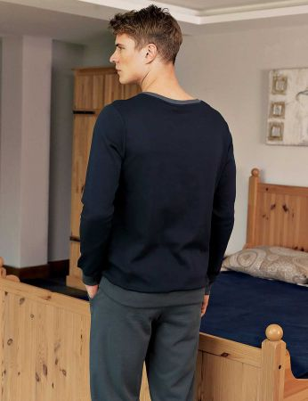 Şahinler - Şahinler Print Men Pajama Set Navy Blue MEP23210-1 (1)