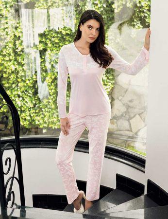 Şahinler - Şahinler Print Women Pajama Set Pink MBP23719-1