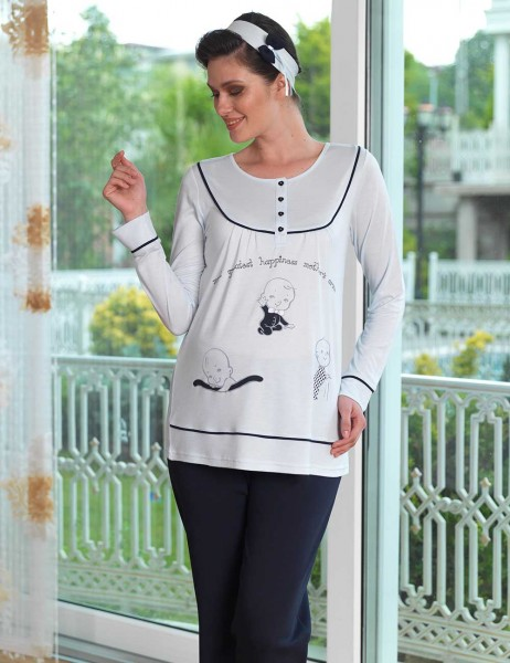 Şahinler - Sahinler Printed Maternity Breastfeeding Sleepwear Set Ice Blue MBP23120-2