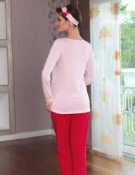 Şahinler - Sahinler Printed Maternity Breastfeeding Sleepwear Set Pink MBP23120-1 (1)