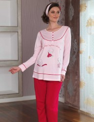 Sahinler Printed Maternity Breastfeeding Sleepwear Set Pink MBP23120-1 - Thumbnail