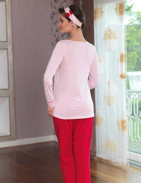 Şahinler - Sahinler Printed Maternity Breastfeeding Sleepwear Set Pink MBP23120-1 (1)