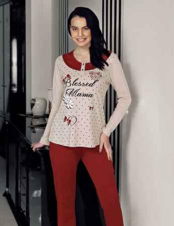 Şahinler Puan Baskılı Kadın Pijama Takımı Vizon MBP23707-1 - Thumbnail