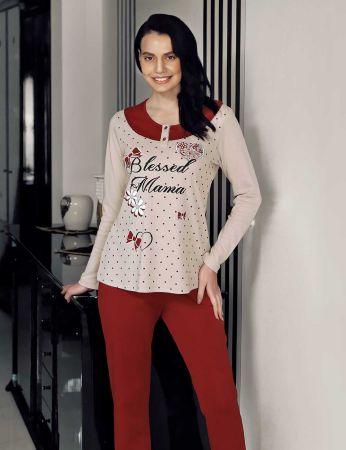 Şahinler - Şahinler Puan Baskılı Kadın Pijama Takımı Vizon MBP23707-1