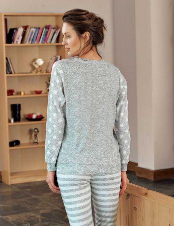 Şahinler - Şahinler Puantiyeli Bayan Pijama Takımı Gri MBP24307-1 (1)