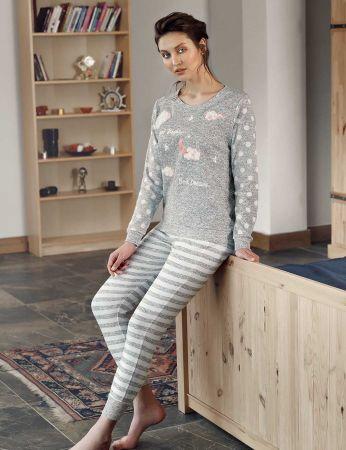 Şahinler - Şahinler Puantiyeli Bayan Pijama Takımı Gri MBP24307-1
