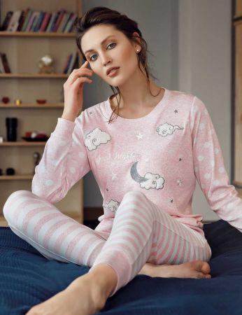 Şahinler - Şahinler Puantiyeli Bayan Pijama Takımı Pembe MBP24307-2
