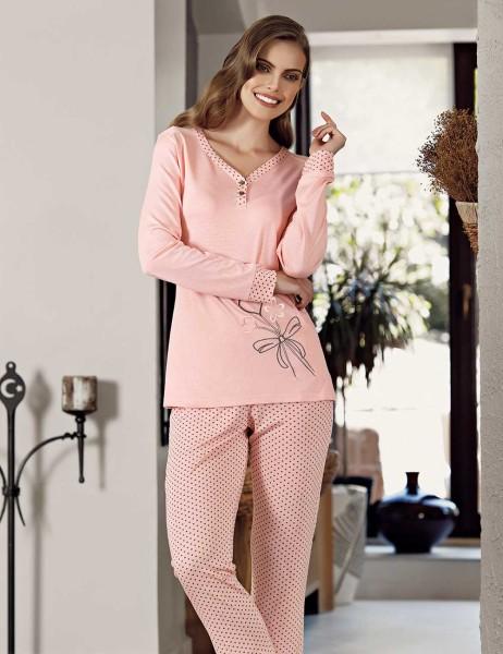 Şahinler - Şahinler Puantiyeli Kadın Pijama Takımı Pembe MBP23111-1