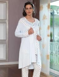Şahinler - Şahinler Hediyeli Lohusa Pijama Takımı Buz Mavi MBP23117-1 (1)