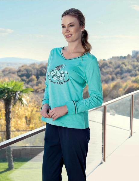 Şahinler - Şahinler Rpinted Woman Pajama Set Turquoise MBP23431-1