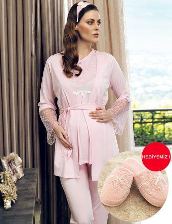 Şahinler - Şahinler Terlik Hediyeli Sabahlıklı Lohusa Pijama Takımı Pembe MBP24125-1