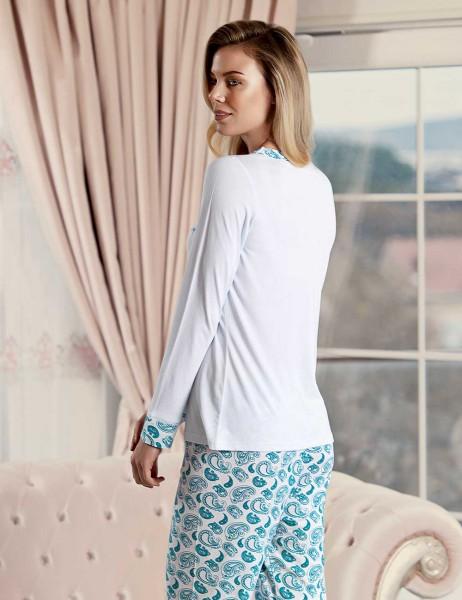 Şahinler - Şahinler Sal Desenli Kadın Pijama Takımı Mavi MBP23425-2 (1)