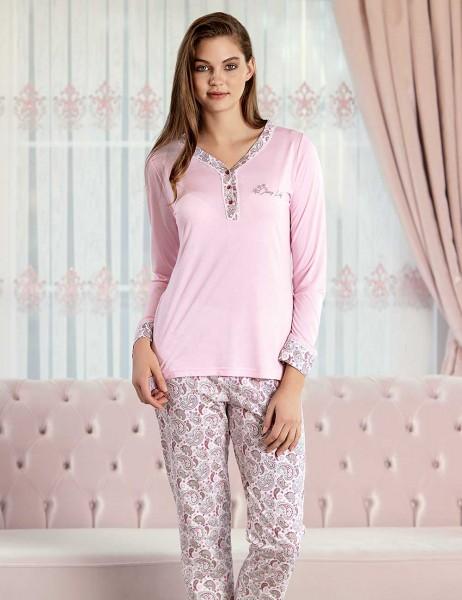 Şahinler - Şahinler Sal Desenli Kadın Pijama Takımı Pembe MBP23425-1
