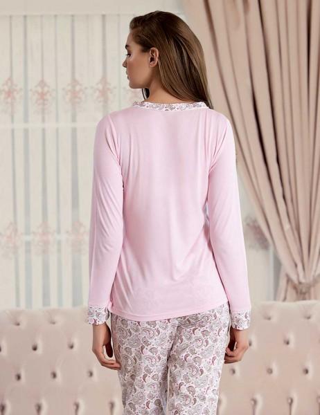 Şahinler - Şahinler Sal Desenli Kadın Pijama Takımı Pembe MBP23425-1 (1)
