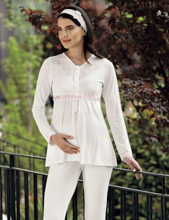 Şahinler - Şahinler Schlafanzug Set für Schwangere mit Hausschuhe Geschenk MBP23728-1