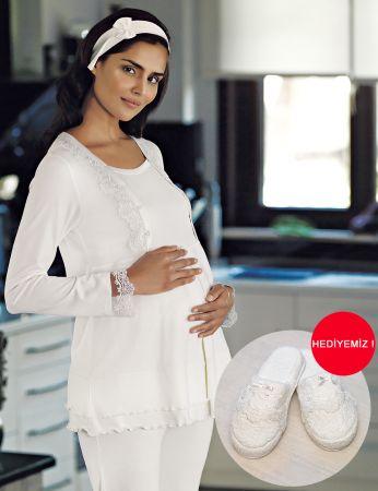Şahinler - Şahinler Schlafanzug Set für Schwangere mit Hausschuhe Geschenk MBP23730-1