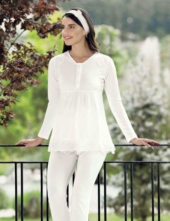Şahinler - Şahinler Schlafanzug Set für Schwangere mit Hausschuhe Geschenk MBP23732-1