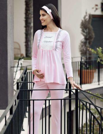 Şahinler - Şahinler Schlafanzug Set für Schwangere mit Hausschuhe Geschenk MBP23733-1