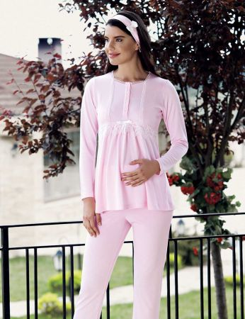 Şahinler - Şahinler Schlafanzug Set für Schwangere mit Hausschuhe Geschenk MBP23734-1