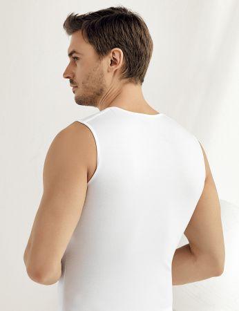 Şahinler - Şahinler Sıfır Kollu V Yakalı Likralı Atlet Beyaz ME078 (1)