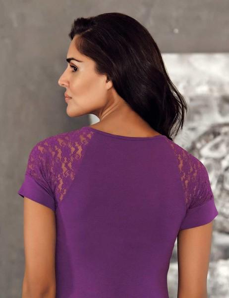 Sahinler Singlet Lace Neck & Straps Raglan Purple MB412