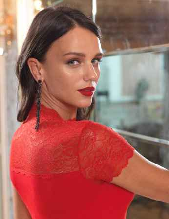 Şahinler - Sahinler Singlet Lace Ropa & Sleeves Red MB624 (1)
