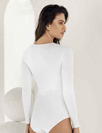 Şahinler - Sahinler Snap Bodysuit Crew Neck Long Sleeve White MB866 (1)