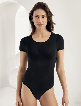 Sahinler Snap Bodysuit Crew Neck Short Sleeve Black MB860
