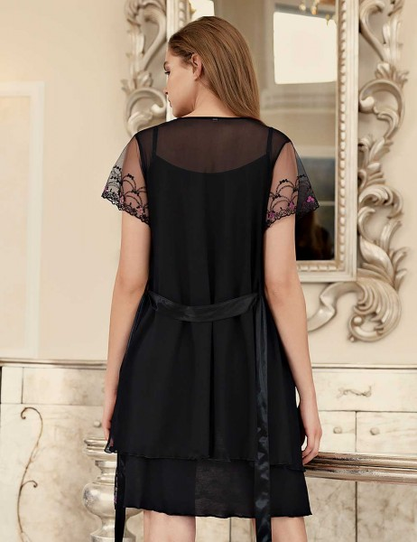Şahinler - Şahinler Spaghetti Strap Lace Night Gown & Morning Gown Black MBP23407-1 (1)