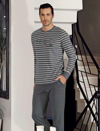 Şahinler - Şahinler Stripe Men Pajama Set MEP23804-1