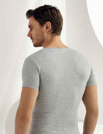 Şahinler - Sahinler Supreme Elastane Unterhemd mit kurzen Ärmeln grau ME085 (1)