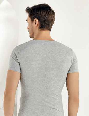 Şahinler - Sahinler Supreme Elastane Unterhemd mit kurzen Ärmeln und V-Ausschnitt grau ME073 (1)